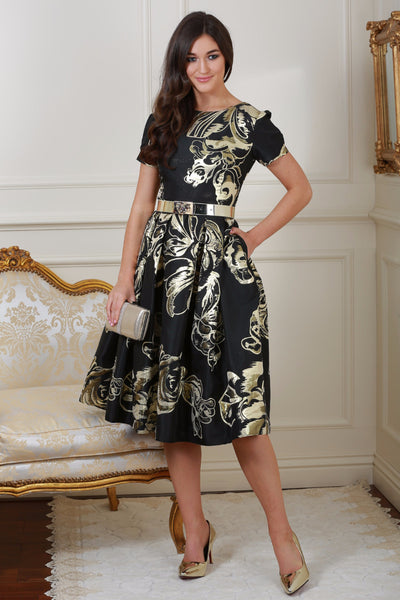 Diane Black and Gold Print Fit and Flare Dress - LadyVB   s.r.o - 1