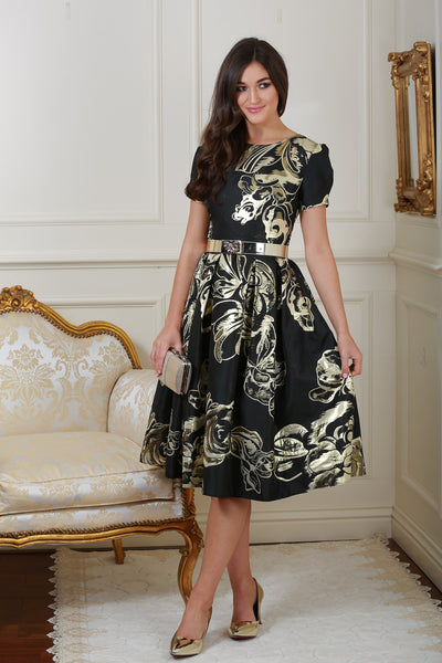 Diane Black and Gold Print Fit and Flare Dress - LadyVB   s.r.o - 4