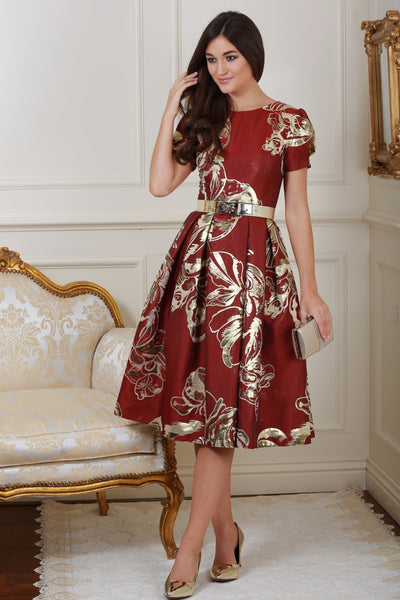 Diane Red and Gold Print Fit and Flare Dress - LadyVB   s.r.o - 1