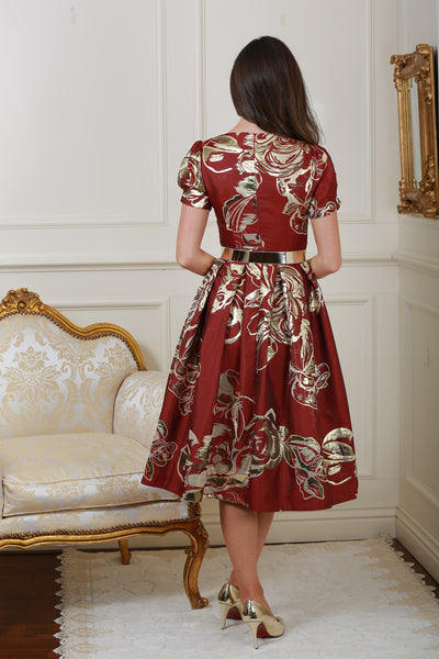 Diane Red and Gold Print Fit and Flare Dress - LadyVB   s.r.o - 3