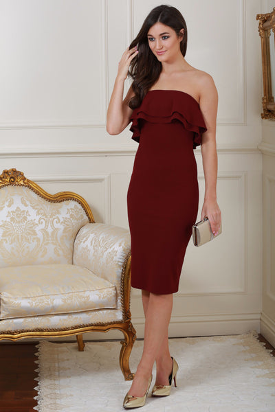 Monika Wine Ruffle Bandeau Dress - LadyVB   s.r.o - 1