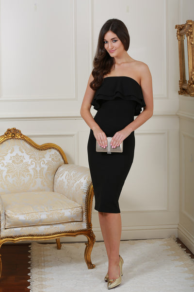 Monika Black Ruffle Bandeau Dress - LadyVB   s.r.o - 1