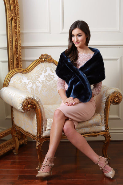 Holly Navy Blue Fur Stole - LadyVB   s.r.o - 1
