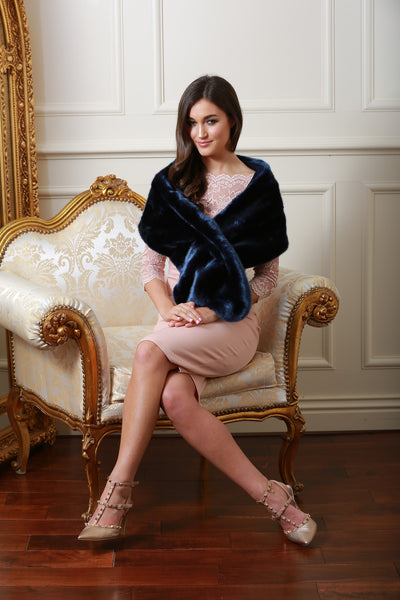 Holly Navy Blue Fur Stole - LadyVB   s.r.o - 4