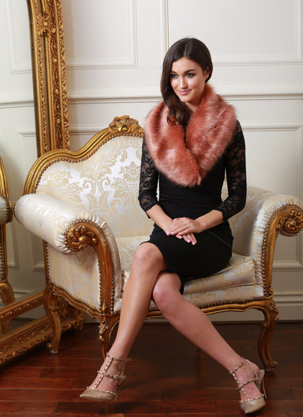 Noelle Pink Fur stole - LadyVB   s.r.o - 1
