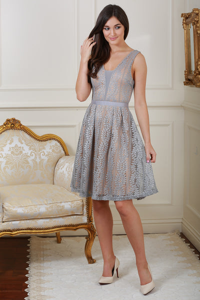 Celina Grey Lace Dress - LadyVB   s.r.o - 1