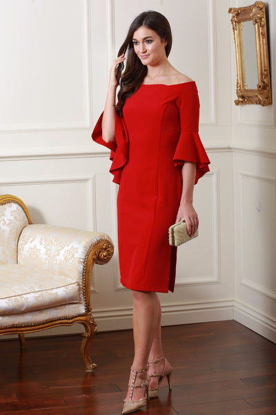 Roma Red Frill Dress - LadyVB   s.r.o - 1