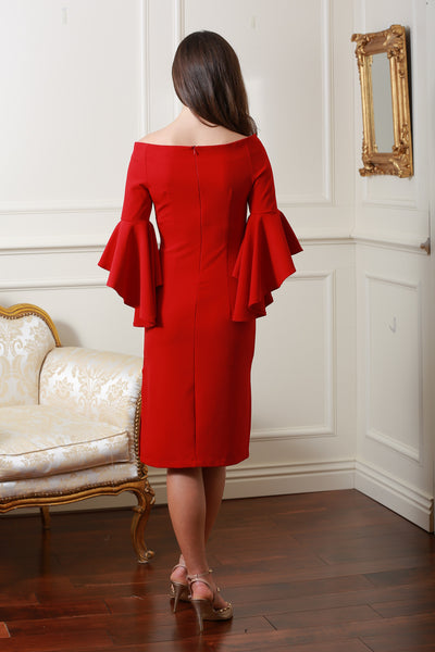 Roma Red Frill Dress - LadyVB   s.r.o - 2