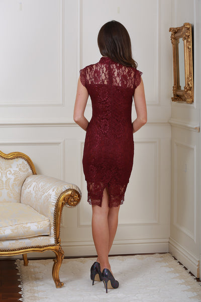 Maura Plum High Neck Lace Midi Dress - LadyVB   s.r.o - 2