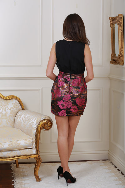 Faye Black and Pink Floral Mini Dress - LadyVB   s.r.o - 2