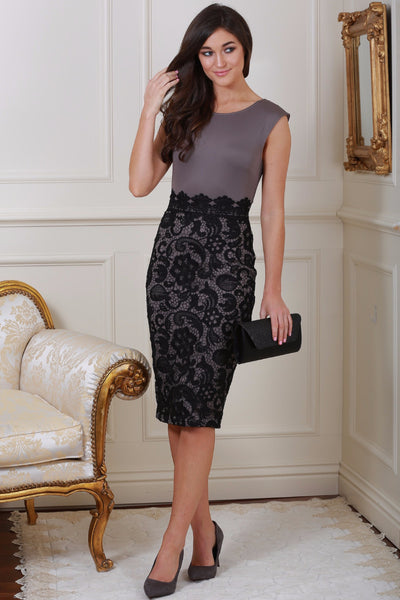 Beth Black and Grey Lace Midi Dress - LadyVB   s.r.o - 1