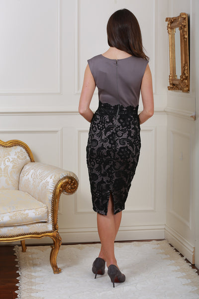 Beth Black and Grey Lace Midi Dress - LadyVB   s.r.o - 2