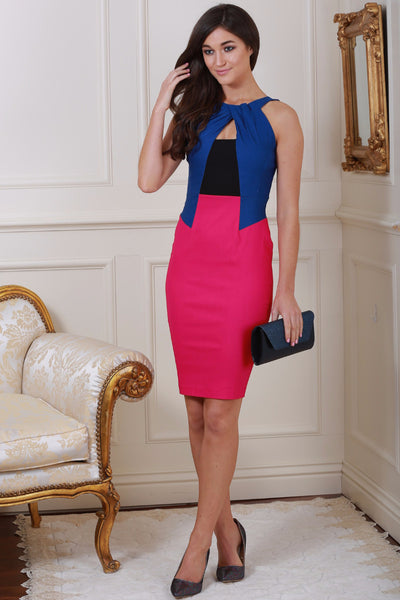Nevada Blue & Pink Colour Block Twist Neck Dress - LadyVB   s.r.o - 1