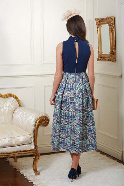 Dawn Multi Knot Navy Floral Print Skirt Dress - LadyVB   s.r.o - 3
