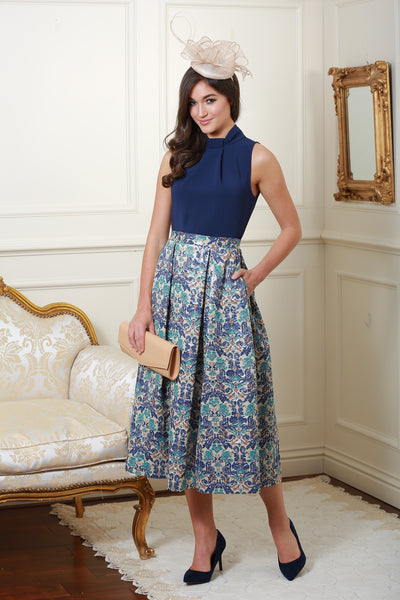 Dawn Multi Knot Navy Floral Print Skirt Dress - LadyVB   s.r.o - 1