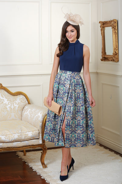 Dawn Multi Knot Navy Floral Print Skirt Dress - LadyVB   s.r.o - 4