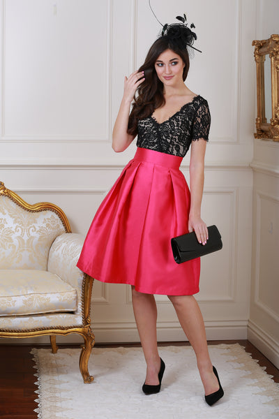 Lisa Marie Black and Pink Lace Skater Dress - LadyVB   s.r.o - 1