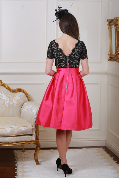 Lisa Marie Black and Pink Lace Skater Dress - LadyVB   s.r.o - 2