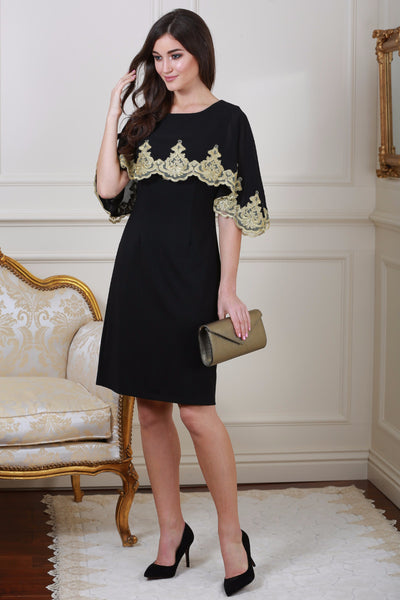 Christina Embellished Cape Overlay Black Dress - LadyVB   s.r.o - 1