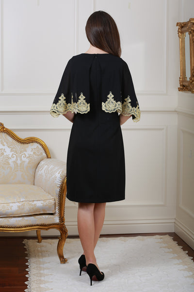 Christina Embellished Cape Overlay Black Dress - LadyVB   s.r.o - 2