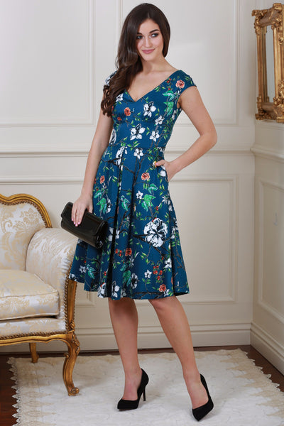 Kelly Teal Floral V Neck Dress - LadyVB   s.r.o - 1