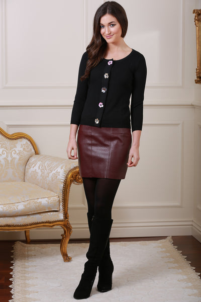 Isabella Lined Wine Pleather Mini Skirt - LadyVB   s.r.o - 1