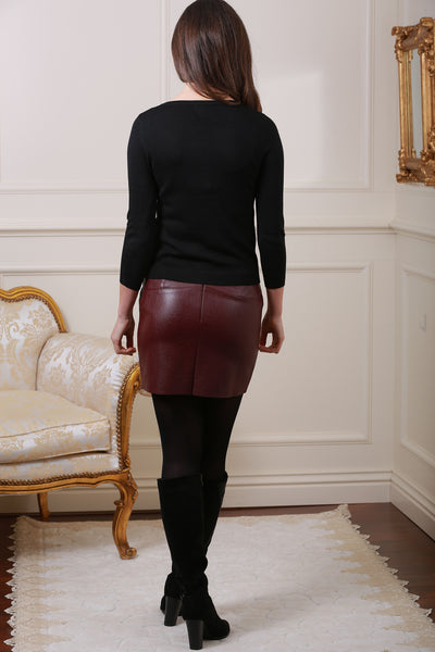 Isabella Lined Wine Pleather Mini Skirt - LadyVB   s.r.o - 2