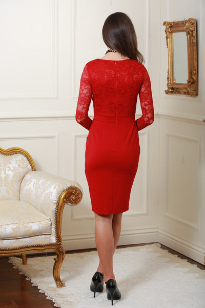 Brenda Red Long Sleeve Lace Dress - LadyVB   s.r.o - 2