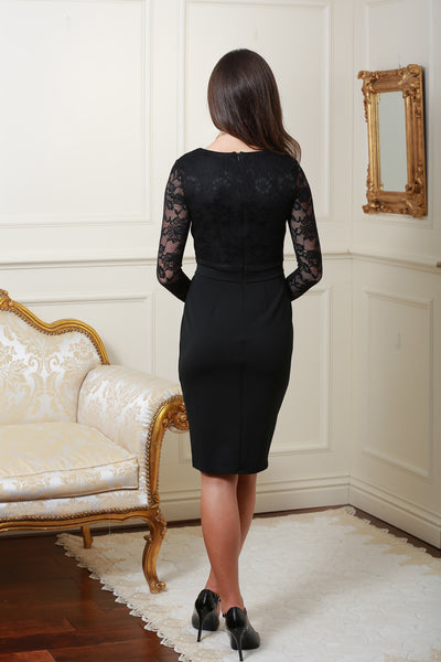 Brenda Black Long Sleeve Lace Dress - LadyVB   s.r.o - 2