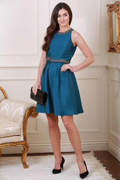 Sophie Teal Overlay Bejewelled Dress - LadyVB   s.r.o - 1