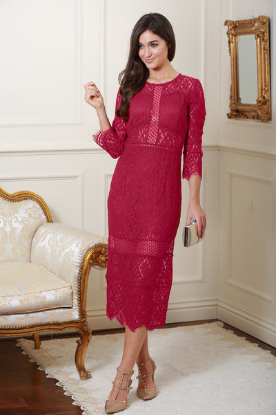 Jeanette Wine Lace Detail Dress - LadyVB   s.r.o - 1