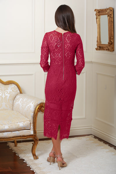 Jeanette Wine Lace Detail Dress - LadyVB   s.r.o - 2