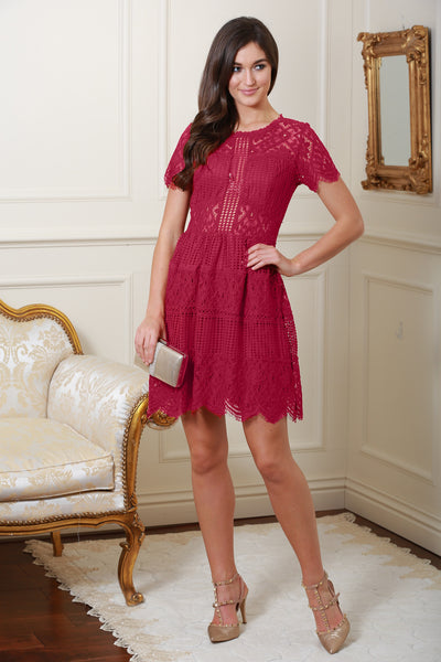 Marissa Wine Lace Dress - LadyVB   s.r.o - 1