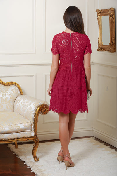 Marissa Wine Lace Dress - LadyVB   s.r.o - 2