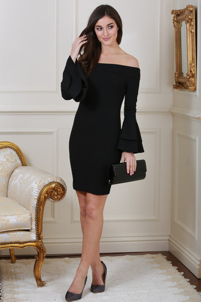 Bella Bardot Black Ruffle Sleeve Dress - LadyVB   s.r.o - 1