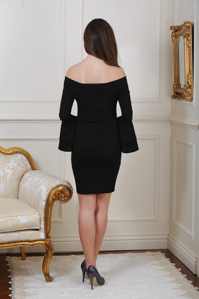 Bella Bardot Black Ruffle Sleeve Dress - LadyVB   s.r.o - 3