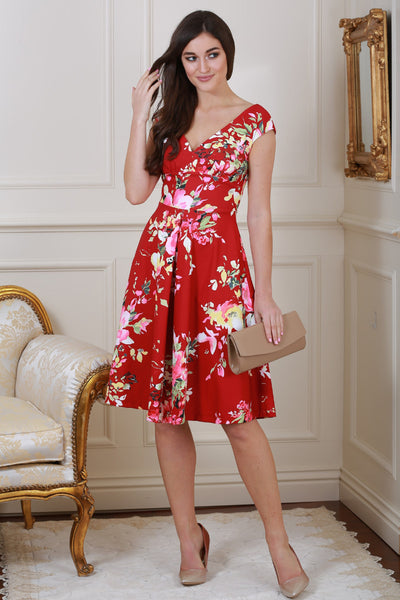 Kelly Red Floral V Neck Dress - LadyVB   s.r.o - 1