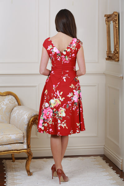 Kelly Red Floral V Neck Dress - LadyVB   s.r.o - 2