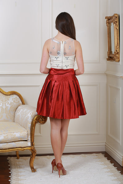 Stella Wine Diamante Belted Skirt - LadyVB   s.r.o - 2