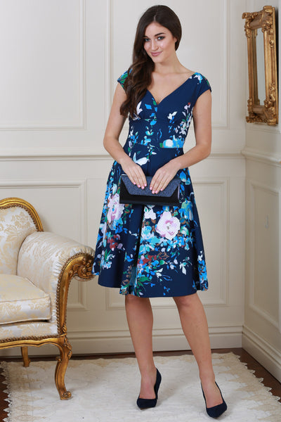 Kelly Navy Floral V Neck Dress - LadyVB   s.r.o - 1