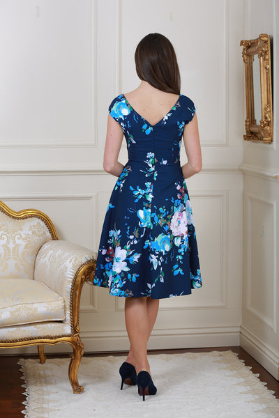 Kelly Navy Floral V Neck Dress - LadyVB   s.r.o - 3