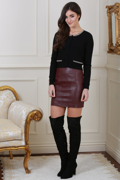 Isabella Lined Wine Pleather Mini Skirt - LadyVB   s.r.o - 3