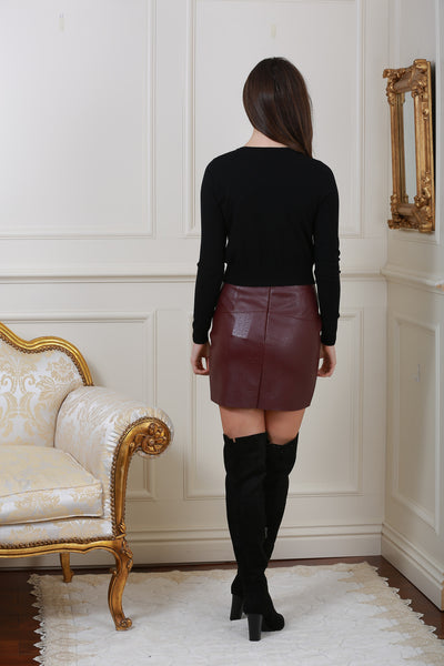 Isabella Lined Wine Pleather Mini Skirt - LadyVB   s.r.o - 4