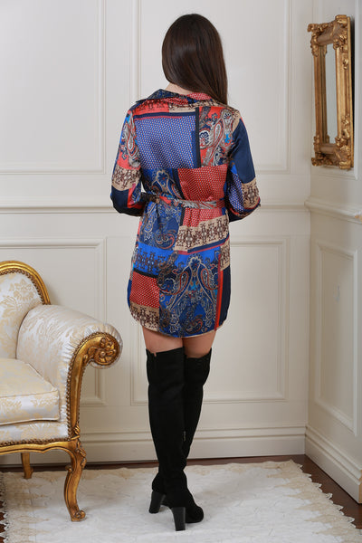 Pru Paisley Tile Print Button Shirt Dress - LadyVB   s.r.o - 2