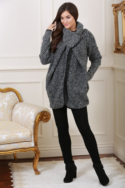 Anita Black Wool Cardigan with Fitted Cuff - LadyVB   s.r.o - 1