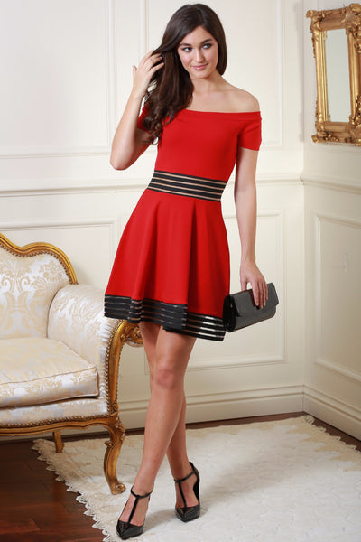 Harriet Red and Black Contrast Bardot Dress - LadyVB   s.r.o - 1