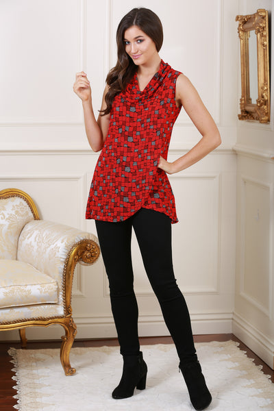Ciara Cowl Neck Red Patterned Wrap Top - LadyVB   s.r.o - 1