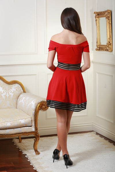 Harriet Red and Black Contrast Bardot Dress - LadyVB   s.r.o - 2