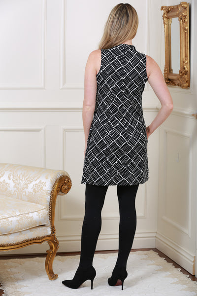 Millie Monochrome Asymmetric Geometric print  Dress - LadyVB   s.r.o - 2