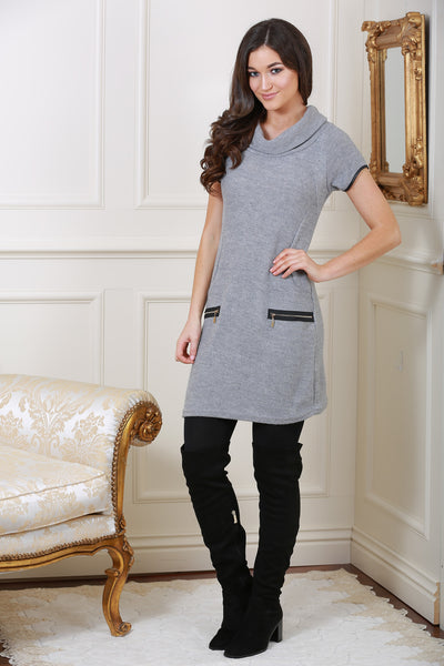 Nellie Grey Roll Neck Tunic Dress - LadyVB   s.r.o - 1